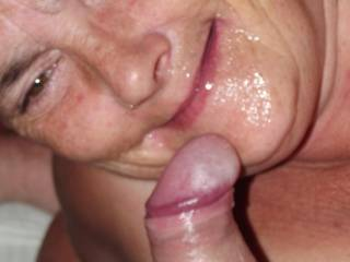 right on the face is perfect, what a wonderful woman you are, smiling with a facial, mature, OH BABY!