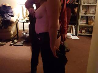 Friend playing with my girlfriend tits while she shows off her new atire
