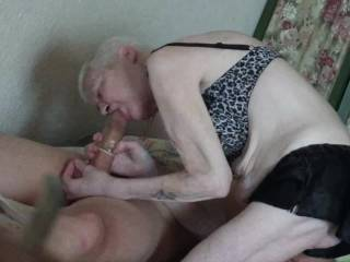 Recieved a great blow job by this granny...