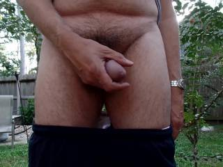 playing with my cock outside