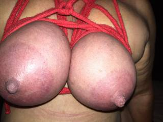 Beautiful bbw loves to tie and torture her tits