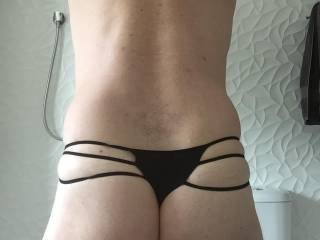 Found a bag full of panties the wife doesn't wear anymore whilst moving, just had to try a few on! this was a kinky pair I came across, don't recall her wearing the much for me.....