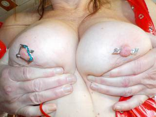 Fun day on the back deck showing off some pierced titties, hope you like them??