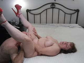Ohh... Right there. Bury your tongue in to my wet pussy. I will keep my legs with the red FMPs nice and wide for you. Now, eat my pussy!! Watch my video to see me thoroughly enjoy his tongue on my luscious pink lips.