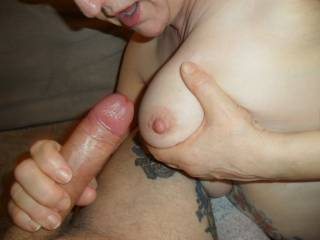 Hi all now this is so dam horny stroking hubbies cock waiting for him to shoot his cum all over my big tits hope you like dirty comments wanted mature couple