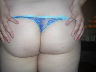 Blue all lace thong (backside)