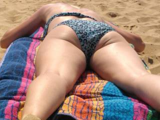 Unfortunately she wouldn\'t go to the nude beach so she still wears her bikini.