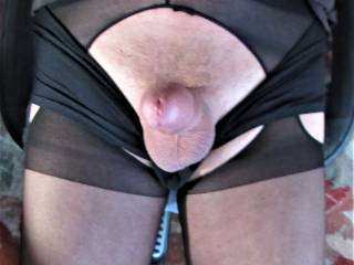 erect cock toward you, while wearing suspender hose and pulling my other undies down.