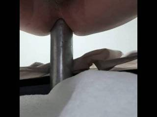 Wife is away and got so horny on Zoig, I had to take the morning to give my ass a good fucking. This is the first time in a few years that I've had the opportunity to put my aluminum baseball bat. Warm it with hot water, little oil and slides right in.