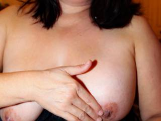 Rubbing hubby's cum on my nipples after I gave him a handjob!