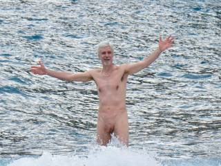 Skinny-dipping on Santorini Island, Greece--an Aussie woman passing by offered to take my pics--alas, she offered nothing more. Still the first time a woman had ever photographed me nude.