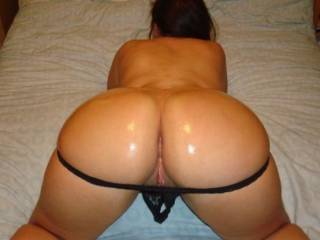 My BF had just oiled my phat ass up, and pulled my thong down ready for fun!