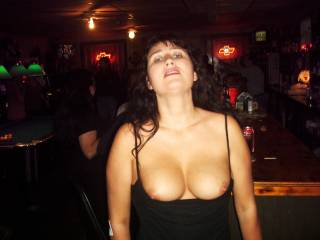 Would Loved to been at this bar when you where showing your Beautiful Breasts!