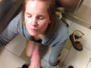 Shopping stresses my man out so I had to take him in a bathroom and fuck and suck him like a good slut wife should. This is my reward! Naomi