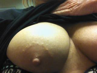 Daaaaaamn, love your amazing tits!!  Perfect size, shape, big aerolas (my favorite!) and deliciously hard nipples just begging to be squeezed, licked and sucked on!!