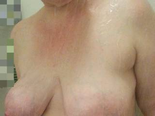 Heavy milk filled lactating breasts!