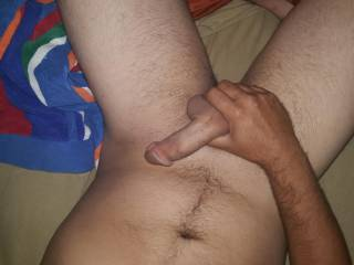 Just laying in bed wishing it was a beautiful woman playing with my dick