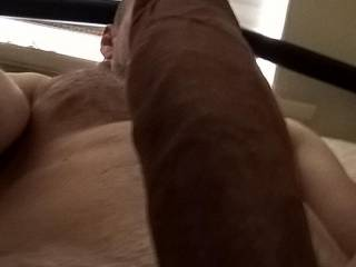 Bodyshot of my erect cock covering my face