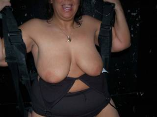 Doesn't Naughty V look fuckable in the sex swing at the sex club?