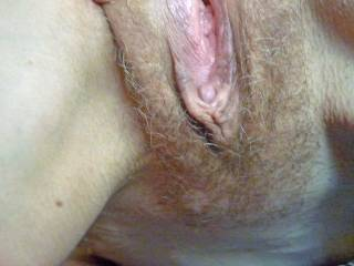 Wifes slightly open pussy to enjoy.