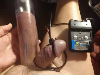 Got my nuts stretched out and feeling good and my favorite way to please my Cock with my Electro estim. It just who I am and what I like.