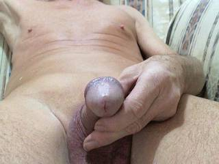 Close-up shot of my smooth cock that\'s waiting to be sucked !