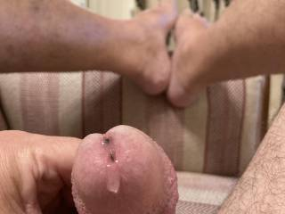 Having a cheeky wank earlier, little bit of pre cum to lick up, looking for a mouth full later!!!