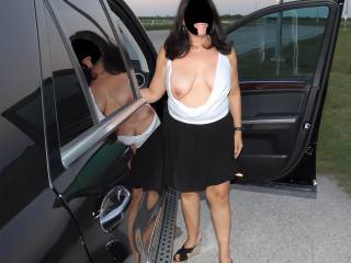 Tit out in public on the side of the road!