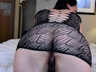 Birdie modelling a bodystocking she bought for me, and offering me her ass and pussy