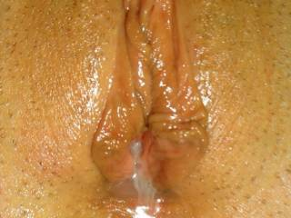 Love to slide my cock inside her cum filled pussy and add mine to yours