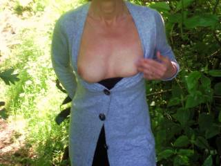 we went for a little walk -the weather was lovely so i thought id flash my boobs lol :)x