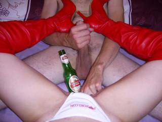 HOW GREAT TO BE WITH THAT SEXY WOMAN AND HAVING A CHOICE OF BEER AND ACTION.....