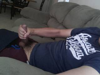 Love squeezing my hard cock!