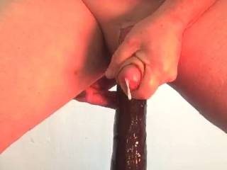 """Cum beginning to be released from enjoying the intense pressure from this great 13"""" sextoy!"""