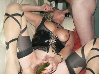 She looks so good sucking cock!!  Love the chance to have her suck me while my wife uses her strapon on her sexy pussy!!!