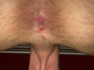 Hanging balls, cock, asshole, tanning bed