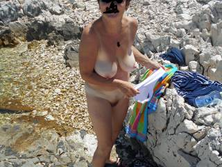Wife totally nude outside for all to see everything.