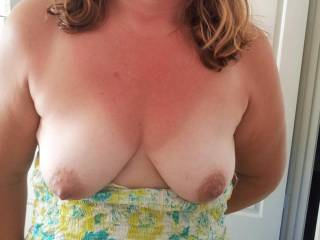 Here they ready to be sucked and played with. Who would like to go first and gently suck my nipples. Would you like to cum over them as well?