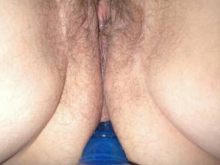 My g/f sweet little pussy with a butt plug in her ass
