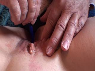 Inserting a silicone Sound into girlfriends wet, squirting pussy. Her orgasm went on for 5 minutes but had to cut some for Zoig policies. Is that one pretty pussy or what? Do you like the close up view?