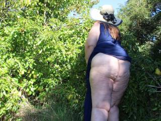 And here's one of my white wide bbw ass outdoors.