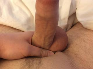 Hard uncut cock at attention
