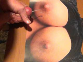 Jerking my hard, lubed cock and cumming on Tasty71\'s Sweet tasty tits!