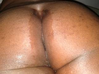 Just got done fucking honey shot it on my ass. I was jiggling it but he just took pics. Maybe a video coming soon. Who wants to see that. Might make us put it up quicker! Enjoy everyone that sees this big beautiful black ass!