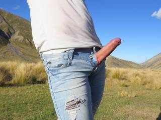 How I like to suck cock myself, through an unzipped jeans...so hot!