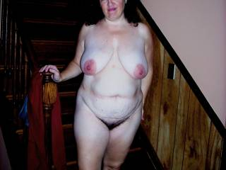 wow, that mean a really hot wife ! curvy body, large hips, big tits and hairy pussy. mmm very hot and fuckable !!!!