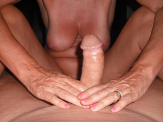 I love playing with his beautiful smooth thick cock and coaxing the cum out of it.