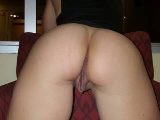This was my position while he fucked me from behind in the hall of the hotel. I loved looking at my reflection seeing him rail me from behind as my tits bounced with each hard stroke.