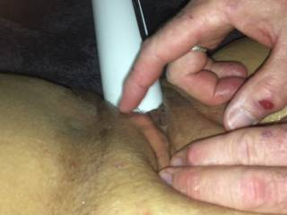 She suggested she film herself as I frigged her to an intense shaking orgasm. I so needed to get inside her to fill her with cum.