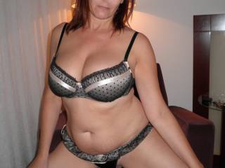 Modelling in my silver and black Bra and Knicker Set